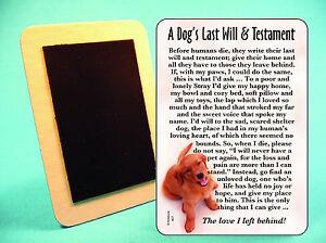 """""""A Dog's Last Will & Testament"""" - Poem - Refrigerator Magnet - SKU# 607"""