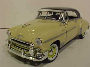 1950-Chevy-Bel-Air-Hard-Top-Die-cast-Car-1-24-Motormax-8-inches-Yellow-NO-BOX