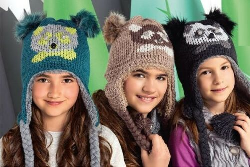 GIRLS KIDS KNITTED warm winter hat size 6-12 Years NEW TIE UP