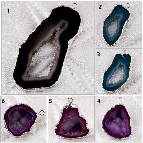 Single Bail Natural Geode Slice Druzy Silver Plated Bracelets Pendants Connector
