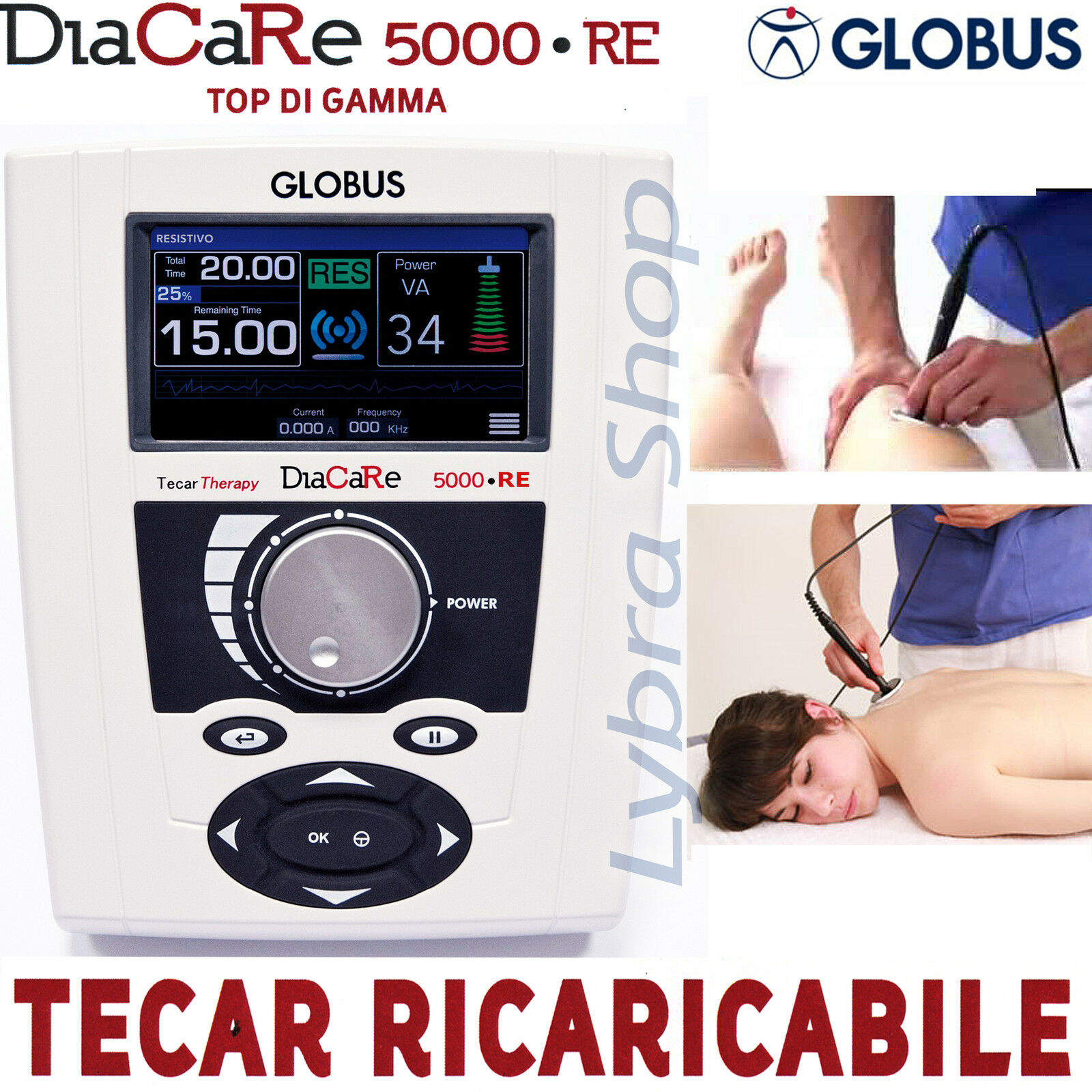 Globus DIACARE 5000 RE RICARICABILE RICARICABILE RICARICABILE 300 Minuti Inclusi PROFESS. Tecar diatermia 979257