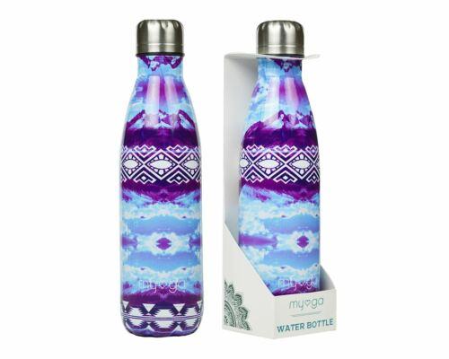 MYGA Water Bottle Stainless Steel Reusable Hot Cold Drinks 500ml BPA Free Purple