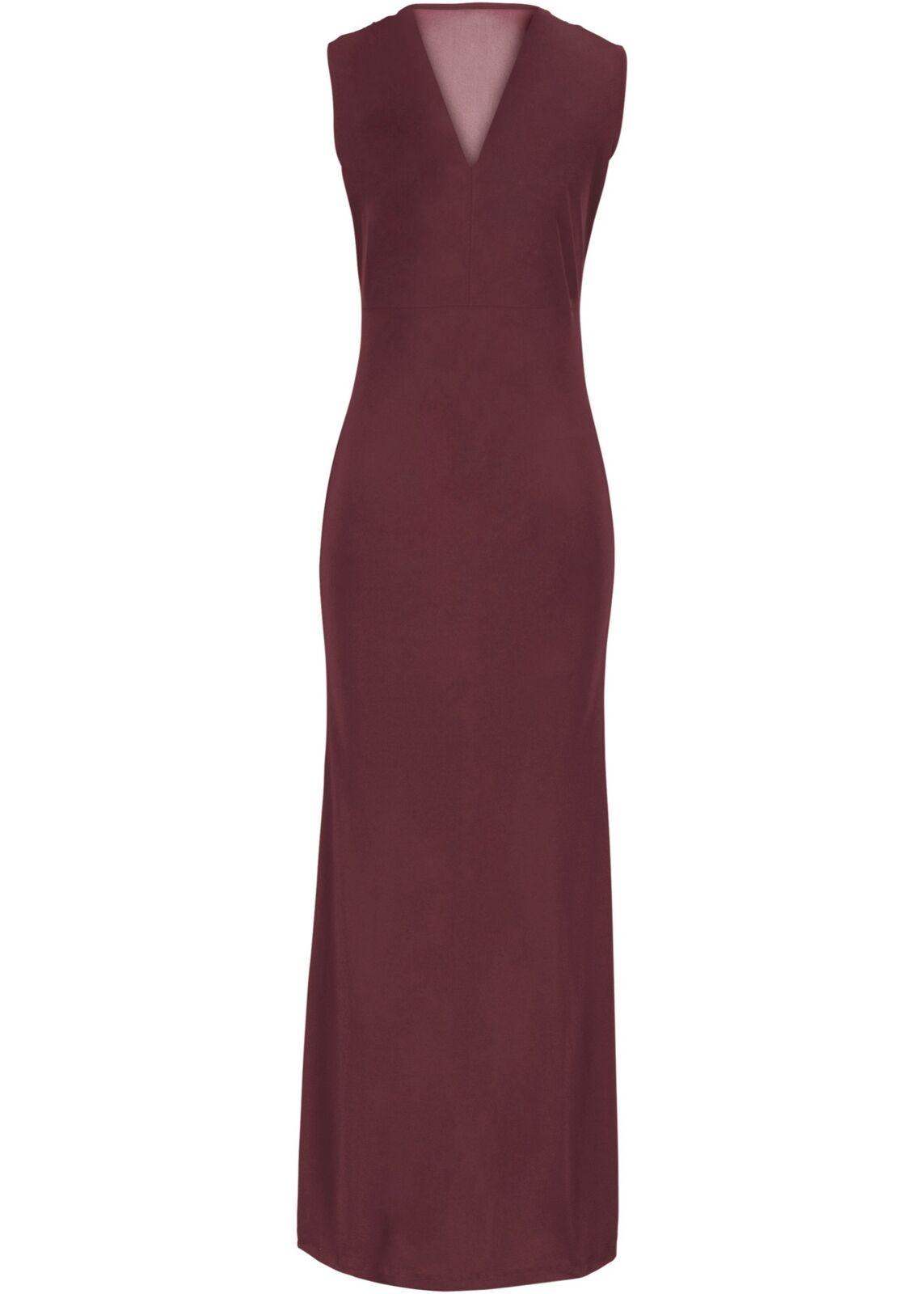 Abendkleid mit Schmucksteinverzierung Gr. 44 Ahornrot Damenkleid Maxi-Kleid Neu