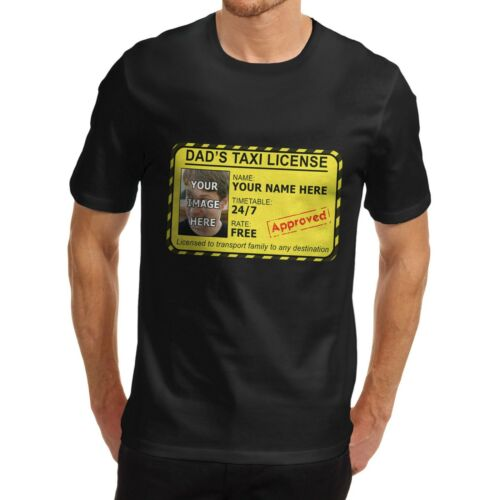 Men/'s Cotton Funny Dad/'s Taxi License Personalised Print T-Shirt