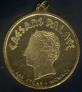 CAESARS-PALACE-GOLDEN-COLORED-MEDAL-MCMXCI-1991-BRONZE-50-MM-UNC-with-LOOP