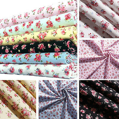 Floral Fabric Rose 100% Cotton Material Vintage Shabby Chic Craft Blue Metre