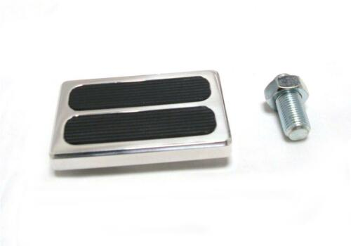Street Hot Rod Aluminum Brake Clutch Pedal Pad 2 Rubber Inserts Chevy Ford Mopar