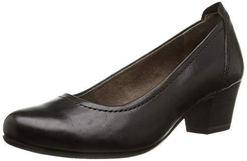Tamaris 22306 Black Leather Low Heel Airline Staff Work Office Court shoes