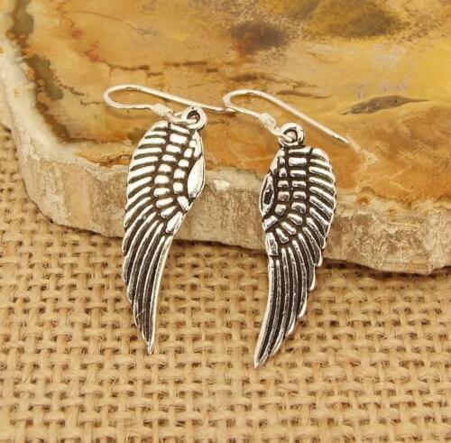 Angel Fairy Wing Feather 925 Sterling Silver Drop Earrings Jewellery