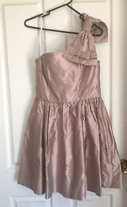 Forever-New-Silk-Dress-BNWT-Size-12-One-Shoulder-Bow-Bridesmaid-Cocktail-Short