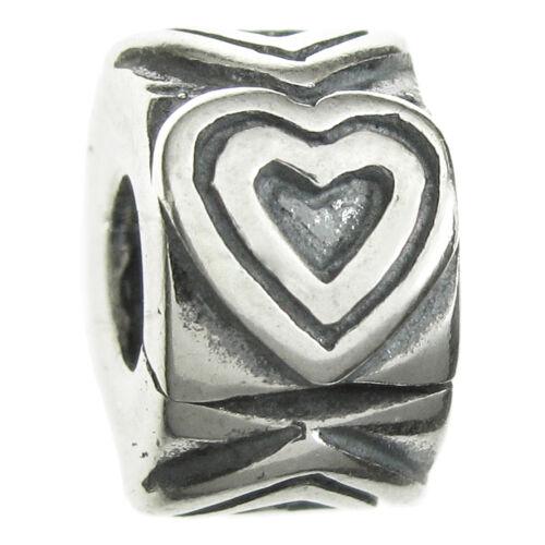 Sterling Silver ENDLESS LOVE COEUR CLIP BOUCHON BEAD for European Charm Bracelet