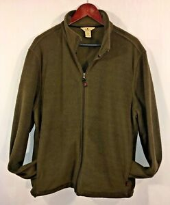 Woolrich-Fleece-Jacket-Men-039-s-Large-Full-Zip-Wood-Brown-Coat-Pockets-Vintage