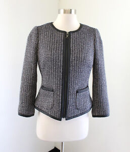 buy real top-rated discount new items Details about Banana Republic Tweed Faux Leather Zip Front Blazer Size 2  Wool Black Blue