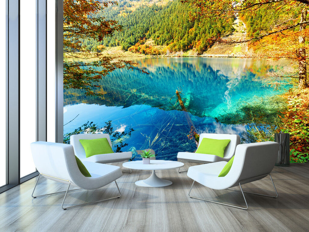 3D lake colorful forest wall Paper wall Print Decal Wall Deco Indoor wall Mural