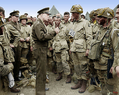 Eisenhower D-Day Normandy invasion paratrooper WWII WW2 color ID-24775