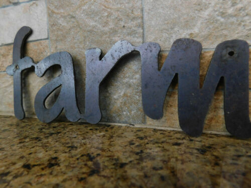 FARM Metal Wall Art rustic home Crafts supplies Word Quote Metal Sign Decor