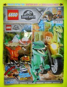 Lego-Magazin-Jurassic-World-Nr-1-mit-Baby-Raptor-und-Nest-mit-Eiern-Limited