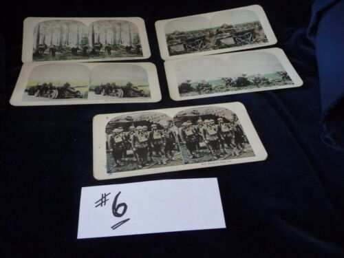 #104#6 antique MIX LOT 0f 5 stereoview cards photographic images oF MILITARY