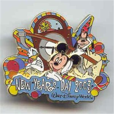 Disney Pin Cast Exclusive 2004 Happy New Year Years Mickey Wdw Goofy Donald