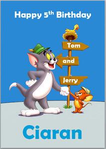 Detalles De Tom Y Jerry Cumpleaños Tarjeta A5 Personalizado Propias Palabras Ver Título Original