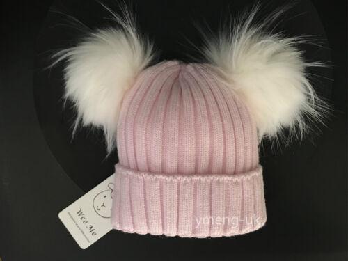 Gorgeous Wee Me Baby Girl Double Fur Pom Hat Mega Pom Faux Fur Cozy Winter