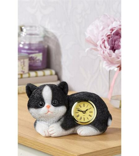NOVELTY SHAPED CLOCK PET CAT ORNAMENT BLACK /& WHITE KITTEN PAL