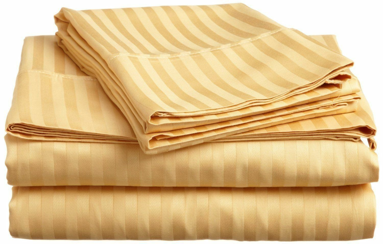 gold Stripe Bed Sheet Set All Extra Deep Pkt & Sizes 1000 TC Pure Egypt Cotton