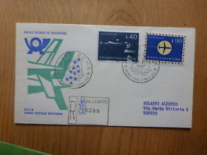 ITALY-1965-NIGHT-AIR-POSTAL-SERVICE-SET-2-STAMPS-REGISTERED-FDC