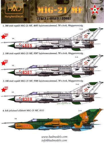 Hungarian Aero Decals 1//48 MIKOYAN MiG-21 MF Fighter Hungarian Air Force