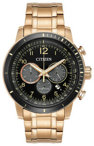 Citizen-Brycen-Eco-Drive-Men-039-s-Chronograph-Rose-Gold-Tone-44mm-Watch-CA4359-55E