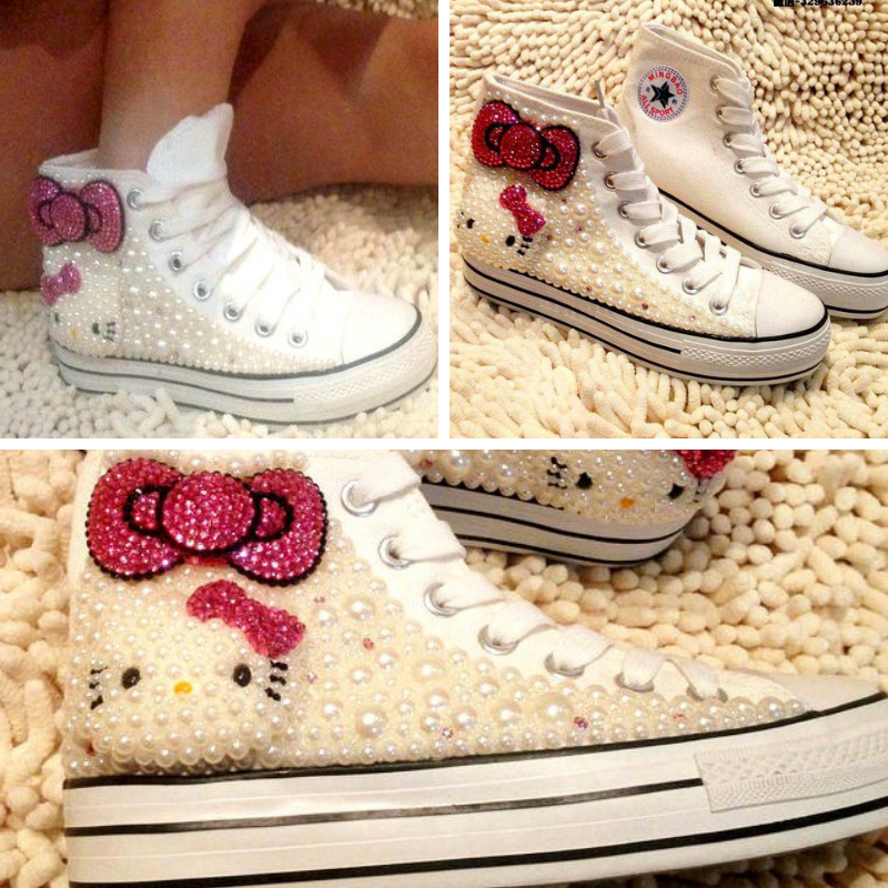 NEW Womens Hello Kitty Pearl Girl Sneakers High Top Tennis shoes, White & Pink