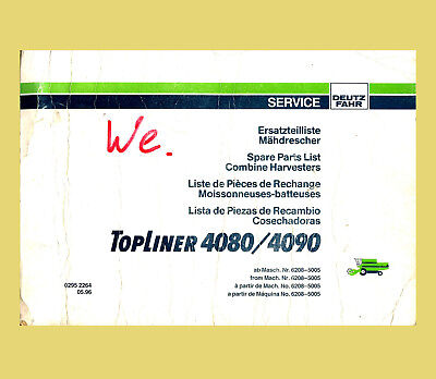 Analytisch Deutz Fahr Mähdrescher 4080 4090 Topliner Ersatzteilliste Original 1996
