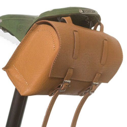 Details about  /Bag Genuine Leather Bicycle Saddle Handlebar Honey Tan