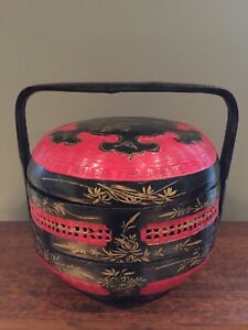 87f377a8a Image is loading Vintage-Red-Black-Gold-Chinese-Wedding-Basket-2-