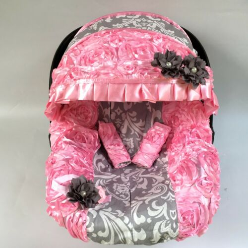 5 pcs baby car seat cover canopy Blanket cover fit most infant seat 3D pink