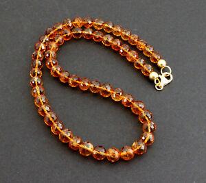 Exclusive Madeira Citrine Necklace Precious Stone Faceted Orange Necklace Rarely