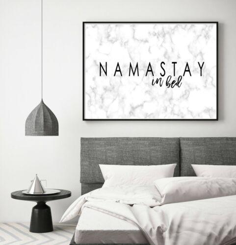 tamanhos A3 A2 A1 Namastay Na Cama efeito Mármore Estampa de Arte Parede Tipografia