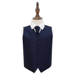 DQT-Plain-Solid-Check-Navy-Blue-Boys-Wedding-Waistcoat-amp-Cravat-Set