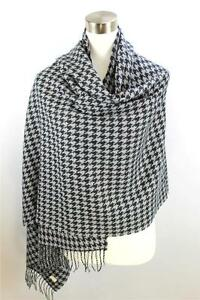 CLASSIC-Warm-Black-Gray-Houndstooth-CASHMERE-TOUCH-100-Acrylic-Scarf-Wrap-Shawl