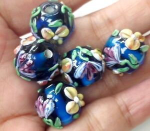 10pcs-handmade-Lampwork-glass-round-Beads-flower-14mm-blue-flower