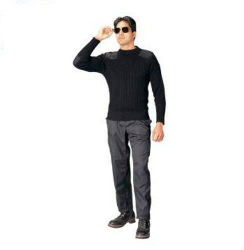 Rothco 6349 Black Government Type Wool Commando Sweater