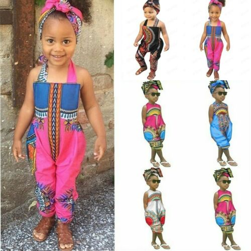 Infant Kid Baby Girl Boys African Sleeveless Romper Hair Band Jumpsuit Clothes