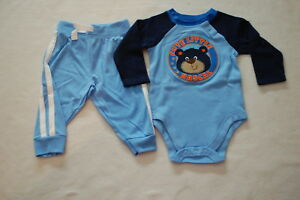 Baby-Boys-L-S-BLUE-amp-NAVY-SHIRT-Bodysuit-CUTE-RASCAL-BEAR-Knit-Pants-24-MO