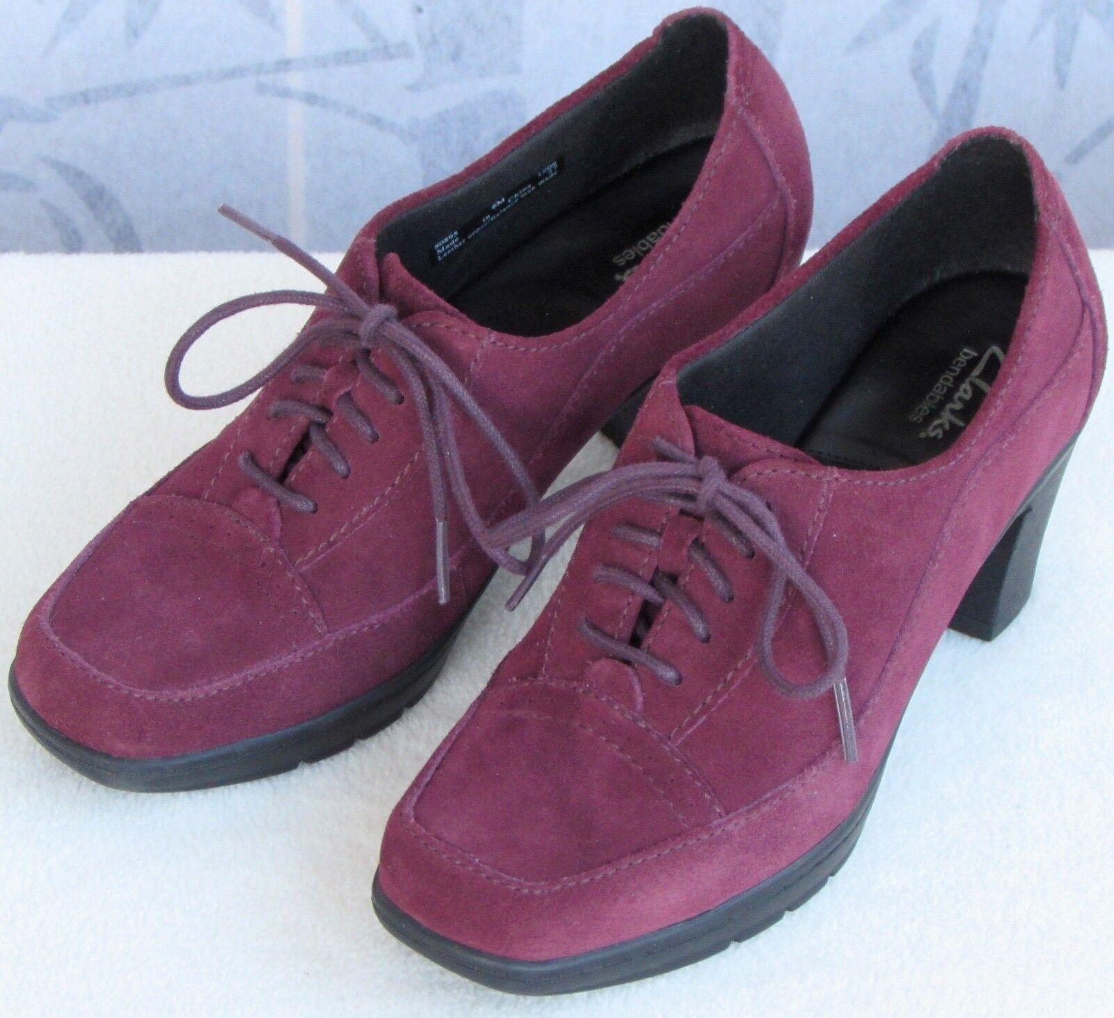 6 M   Clarks Honest Women Burgundy Suede Leather Lace-Up Block Heel Oxford Pump