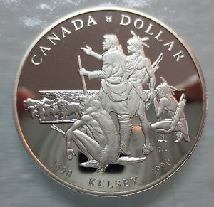 1990-CANADA-PROOF-HENRY-KELSEY-TRICENTENNIAL-SILVER-DOLLAR-COIN