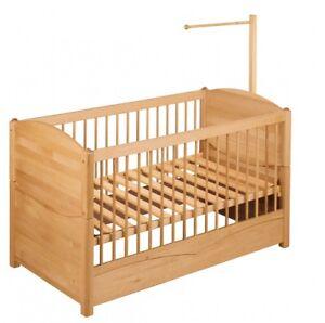 Biokinder babybett kinderbett mit betthimmelhalter 70x140 for Kinderbett mit rausfallschutz 70x140
