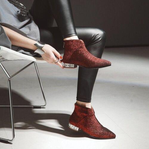 Women Gothic Leopard Flats Ankle Boots Glitter Vogue Ladies Date Shoes Plus size