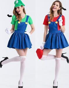 image is loading womens super mario luigi brothers plumber fancy dress