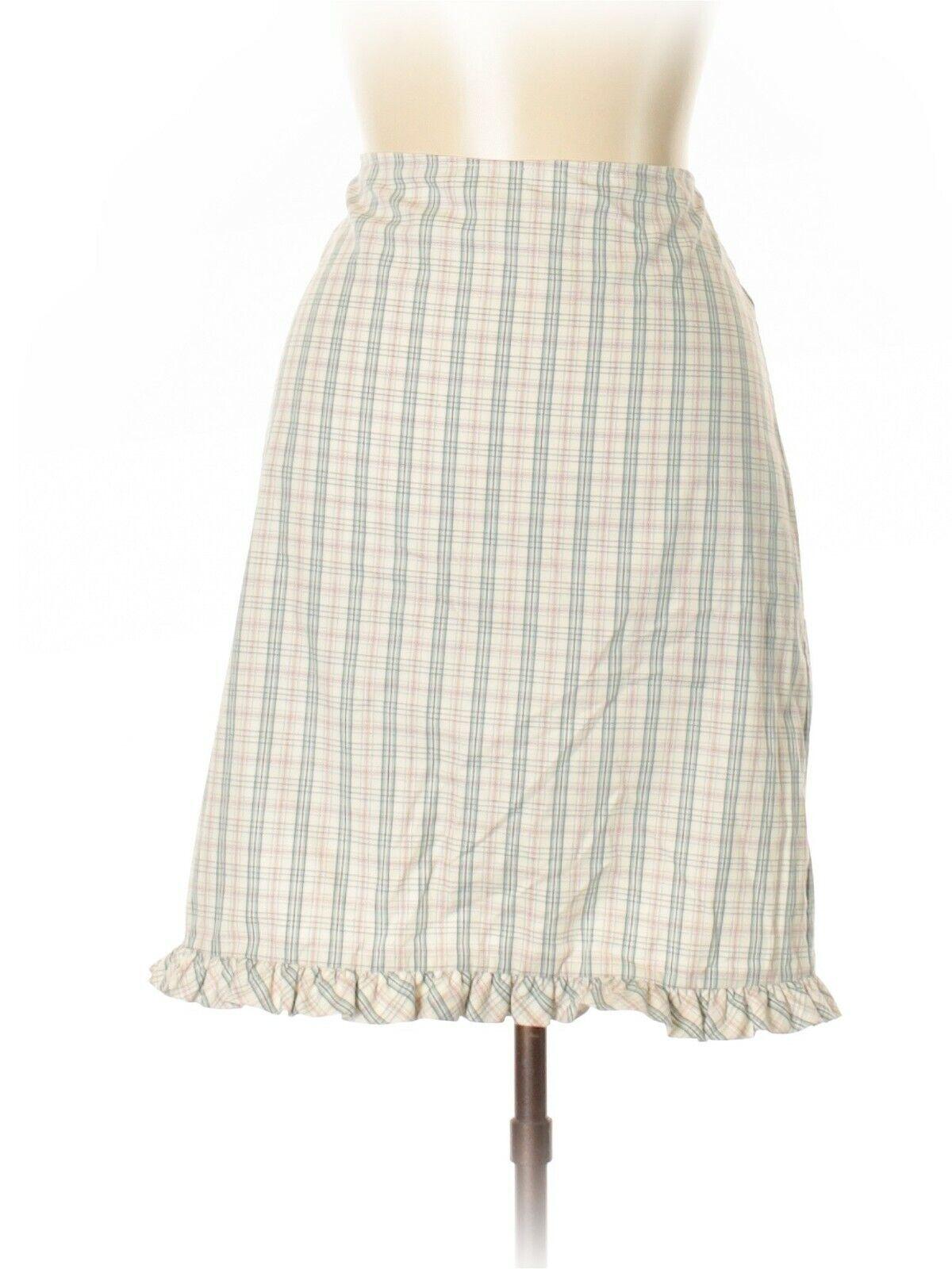 Marni White Plaid A-Line Skirt, Size 8 (US) 42 (IT), NWT