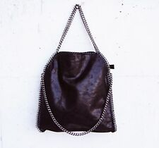 MAXI BORSA tre CATENE falabella NERA donna black BAG 3 CHAIN Stella McCartney